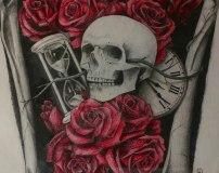 Эскиз рукав череп и розы