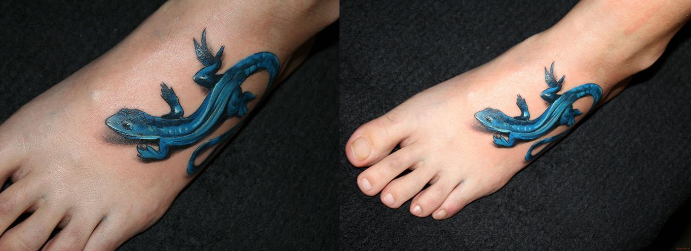 татуировка ящерицы на ноге