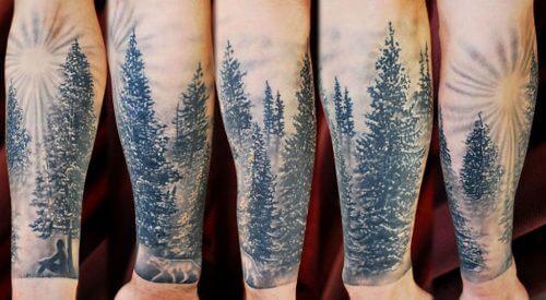татуировка леса